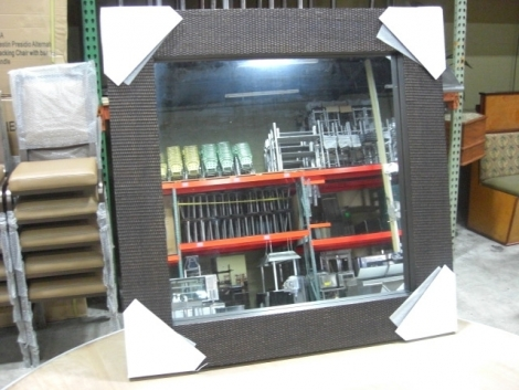 "Majestic Mirror & Frame GAC-06 40""x40"" Bronze Hand Rubbed Woven Metal Finish Decorative Wood Mirror Square"