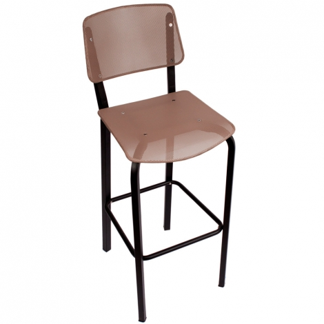 BFM Seating DV590TPBL  Devon Sand Black Steel Bar Height Chair with Taupe Seat and Back