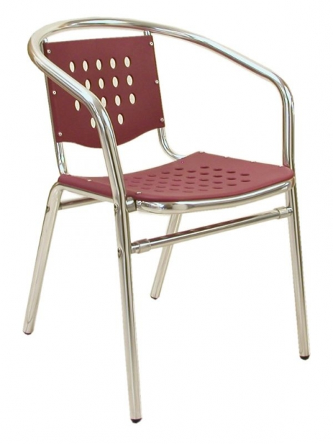 Florida Seating AL-03 Alum/Red Stackable Outdoor Arm Chair