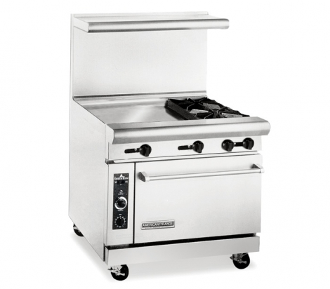 "American Range AR24G‐2B 36"" Wide 2 Burner 24"" Griddle Heavy Duty Restaurant Range Gas"