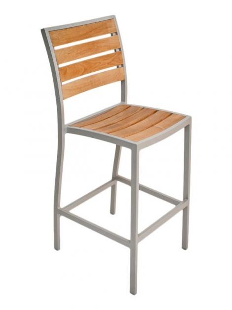 Florida Seating DC BAL-5602 Silver / Faux Teak Outdoor Barstool