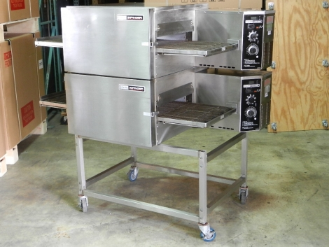 "Lincoln Impinger 1132-023-A Doublestack 1100 Series Impinger II Conveyorized Pizza Oven Electric 18"" Belt on Casters"