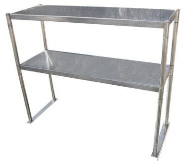 "Serv-Ware OS-4E-CWP 12""x48"" Stainless Steel Double Tier Over Shelf"