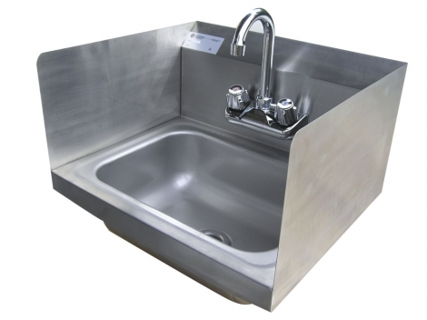 "Serv-Ware HS15S-CWP 17"" Wall Mount Stainless Steel Hand Sink w/Side Splashes"