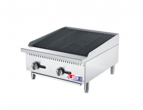 "US Cooking USCBLR24 24"" 2 Burner Commercial Lava Rocks Charbroiler"