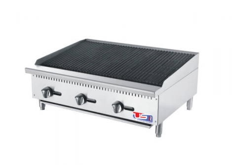 "US Cooking USCBLR36 36"" 3 Burner Commercial Lava Rocks Charbroiler"