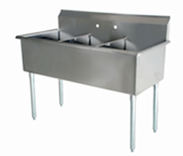 "US Stainless US1221-3 39"" 3 Compartment Commercial Stainless Steel Sink"