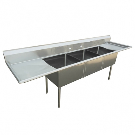 """US Stainless USS3C162012-18LR 84"""" 3 Compartment Commercial Stainless Steel Sink"""