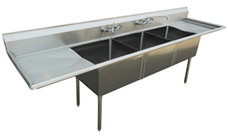 "US Stainless USS3C162012-18LR 84"" 3 Compartment Commercial Stainless Steel Sink"