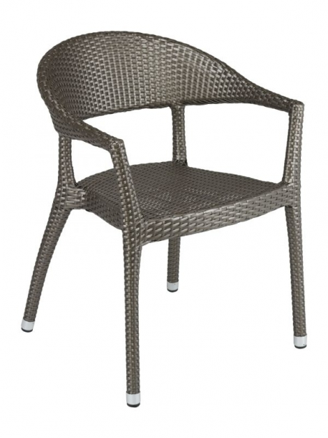Florida Seating WIC-11 Black Pearl Stackable Indoor/Outdoor Arm Chair