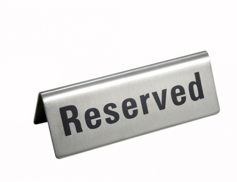 Winco RVS-4 RESERVED Tent Sign