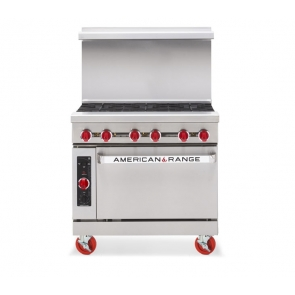 "American Range AR-6C 36"" Wide 6 Burner Heavy Duty Restaurant Range Gas w/Convection Oven"