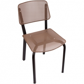BFM Seating DV490TPBL  Devon Sand Black Steel Side Chair with Taupe Seat and Back