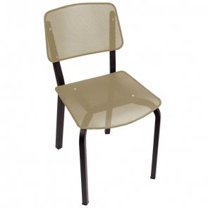 BFM Seating DV490LSBL Devon Sand Black Steel Side Chair with Light Sage Seat and Back