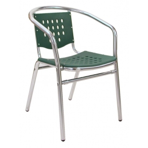 Florida Seating AL-03 Alum/Green Stackable Outdoor Arm Chair