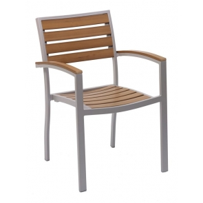 Florida Seating DC AL-5602-0 Silver / Faux Teak Outdoor Arm Chair
