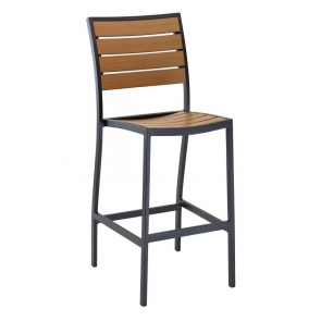 Florida Seating DC BAL-5602 Black / Faux Teak Outdoor Barstool