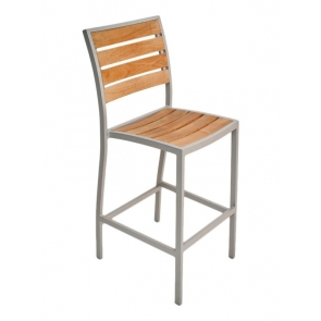 Florida Seating DC BAL-5602 Silver / Faux Teak Outdoor Barstool