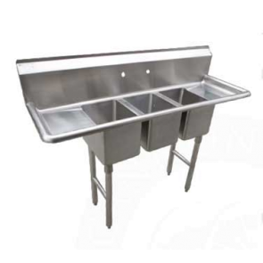 "Serv-Ware CS3CWP1614212 69.5"" 3 Compartment Deli/Convenient Store Sink with Faucet"