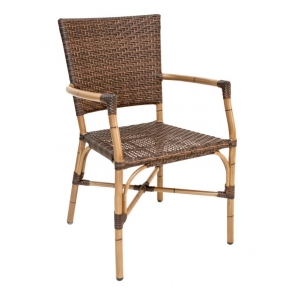 Florida Seating RT-04 Bamboo / Safari Stackable Outdoor Arm Chair