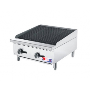 "US Cooking USCBR24 24"" 2 Burner Commercial Radiant Charbroiler"
