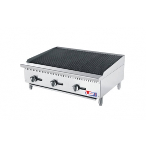"US Cooking USCBR36 36"" 3 Burner Commercial Radiant Charbroiler"
