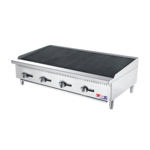 "US Cooking USCBR48 48"" 4 Burner Commercial Radiant Charbroiler"