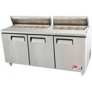 US Refrigeration USSMV-73 3 Door Mega Top Salad Prep Table