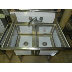 "US Stainless USS2C162012 37"" 2 Compartment Stainless Steel Sink Including Faucet & Kit"