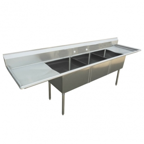 "US Stainless USS3C162012-18LR 84"" 3 Compartment Stainless Steel Sink"