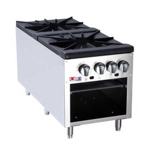 "US Cooking USSP-18-2 18"" Double Burner Stock Pot Stove Gas 160K BTU"